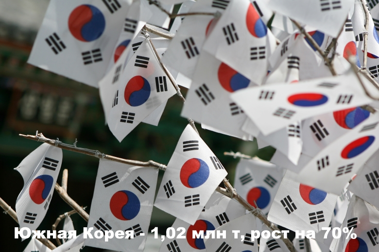 Южная Корея— 1,02 млн т, рост на70