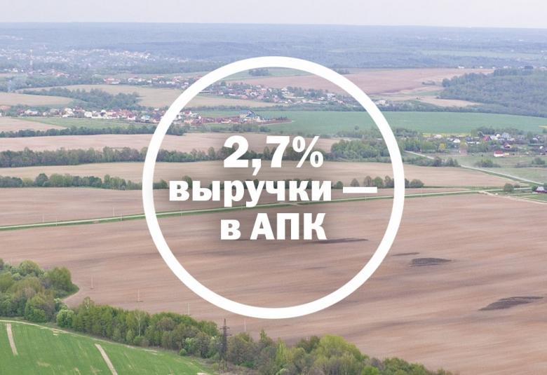 2,7% выручки— в АПК